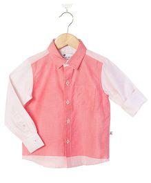 Coo Coo Cotton Satin Panel Shirt - Red Pink