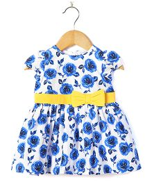 Coo Coo Floral Poplin Dress - Blue