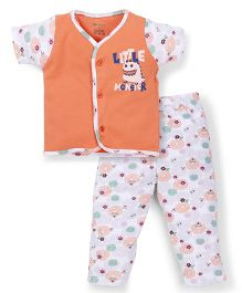 Ohms Half Sleeves Front Open Top And Pant Set - Orange & White