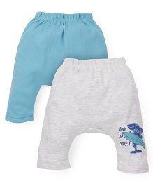 Ohms Diaper Leggings Pack Of 2 - Grey Light Blue