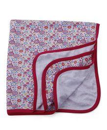 Ohms Baby Blanket Floral Print - White Fuchsia