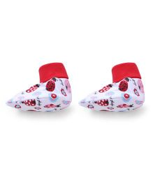 Ohms Printed Booties - Red White