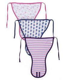 Ohms Tie Up Cloth Nappies Pack Of 3 Extra Large - Pink Navy Peach