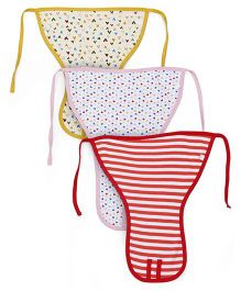 Ohms Tie Up Cloth Nappies Pack Of 3 Large - Yellow Red
