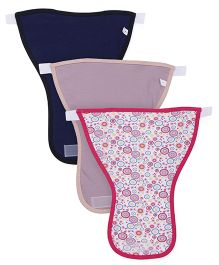 Ohms Cloth Nappies Velcro Closure Large Pack Of 3 - Pink Navy Blue Purple