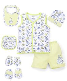 Ohms Clothing Gift Set Bunny Print Pack Of 7 - Light Green
