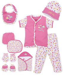 Ohms Clothing Gift Set Ladybug And Flower Embroidery Pack Of 9 - Pink