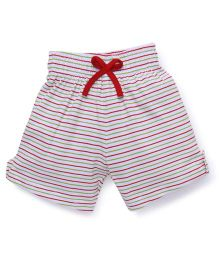 Babyhug Striped And Printed Shorts Set Of 2 - White Red