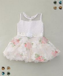 Eiora Floral Party Wear Dress - White & Pink