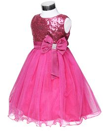 The Kidshop Sequins Embellished Party Dress - Fuchsia Pink