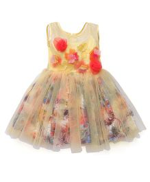 Katibi Sleeveless Party Frock Floral Applique - Yellow