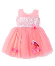 Katibi Sleeveless Party Frock Flamingo Sequin Detailing - Peach