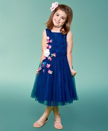 Katibi Sleeveless Party Frock Floral  Applique - Navy Blue