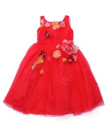 Katibi Sleeveless Party Frock Floral Motif - Crimson Red