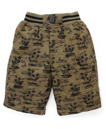 Jash Kids Printed Jamaican Shorts - Olive