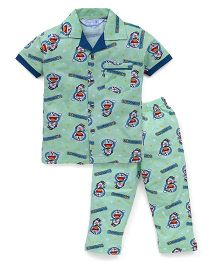 Red Ring Night Suit Doraemon Print - Green