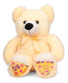 Liviya Sitting Teddy Bear Soft Toy Printed Paw Cream - 72 cm