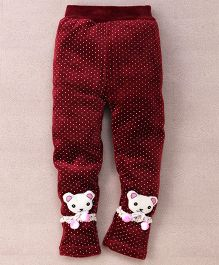 Superfie Warm Teddy Legging For Girls - Maroon
