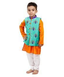 Raghav Embroidered Peacock Nehru Koti - Turquoise