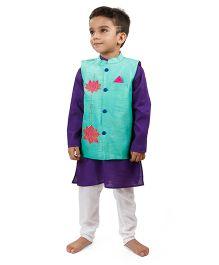 Raghav Embroidered Applique Lotus Style Nehru Koti - Turquoise