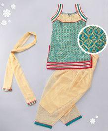 Babyhug Sleeveless Designer Kurta Churidar Dupatta Set - Rama Green