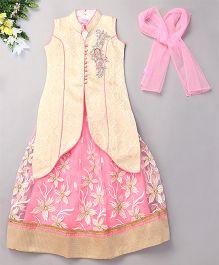 Babyhug Sleeveless Ethnic Lehenga Choli With Dupatta - Off White Pink