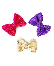 Knotty Ribbons Set Of Three Handmade Sequence Bow Hair Clips - Pink Purple & Silver