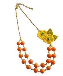 Soulfulsaai Coloured Beads & Crochet Flower Necklace - Orange