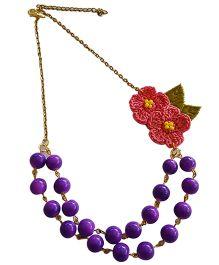 Soulfulsaai Coloured Beads & Crochet Flower Necklace - Purple