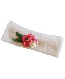 Soulfulsaai Handmade Fabric Flowers Headband - Pink & White
