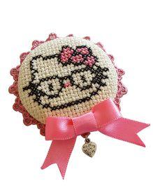Soulfulsaai Cross Stitch Kitten Design Broach - Pink