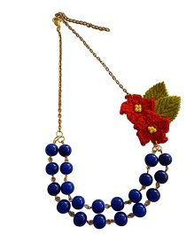 Soulfulsaai Coloured Beads & Crochet Flower Necklace - Blue