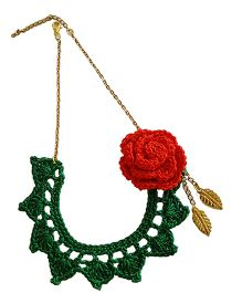 Soulfulsaai Crochet Flower Necklace - Green Red & White