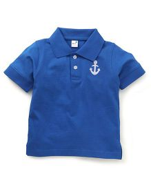 Get It Boys Anchor Embroidery Polo T-Shirt - Blue
