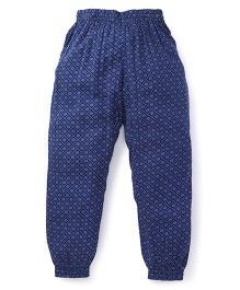 Get It Flower Print Joggers For Girls - Blue