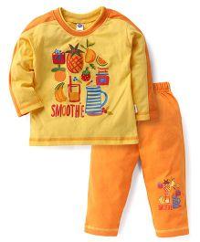 Teddy Full Sleeves Night Suit Smoothie Print - Yellow Orange