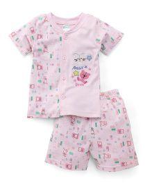 Babyhug Half Sleeves T-Shirt And Shorts Set Rabbit Bear Patch - Pink