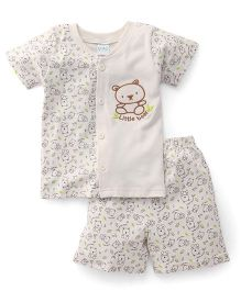 Babyhug Half Sleeves T-Shirt And Shorts Set Little Bear Embroidery - Off White