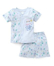 Babyhug Half Sleeves T-Shirt And Shorts Set Rabbit Bear Patch - Blue