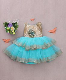 Adores Frilly Sequin Party Dress With Pearls - Blue