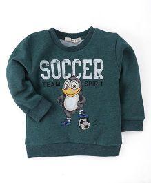 Fox Baby Full Sleeves Soccer Print Sweatshirt - Dark Green