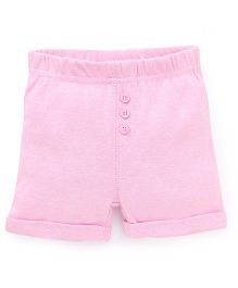Fox Baby Solid Color Shorts With Fold Up Hem - Pink