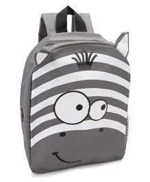 Fox Baby School Bag Animal Face Print Grey - 11 Inches