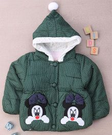 Adores Mouse Design Hooded Winter Jacket - Green