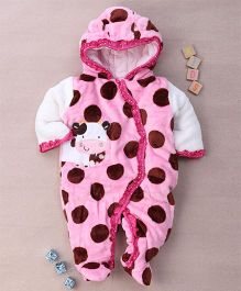 Adores Fur Hooded Winter Jacket Romper Cow Print - Pink
