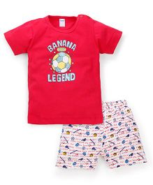 Tango Half Sleeves Banana Legend Print T-Shirt And Shorts Set - Red