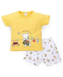 Tango Half Sleeves T-Shirt And Shorts Set - Yellow White