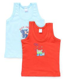 Tango Sleeveless Vests Multi Print Pack Of 2 - Red Blue