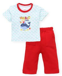 Tango Half Sleeves Night Suit Whale Print - Red