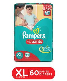 Pampers Pant Style Diapers Light And Dry Extra Large - 60 Pieces